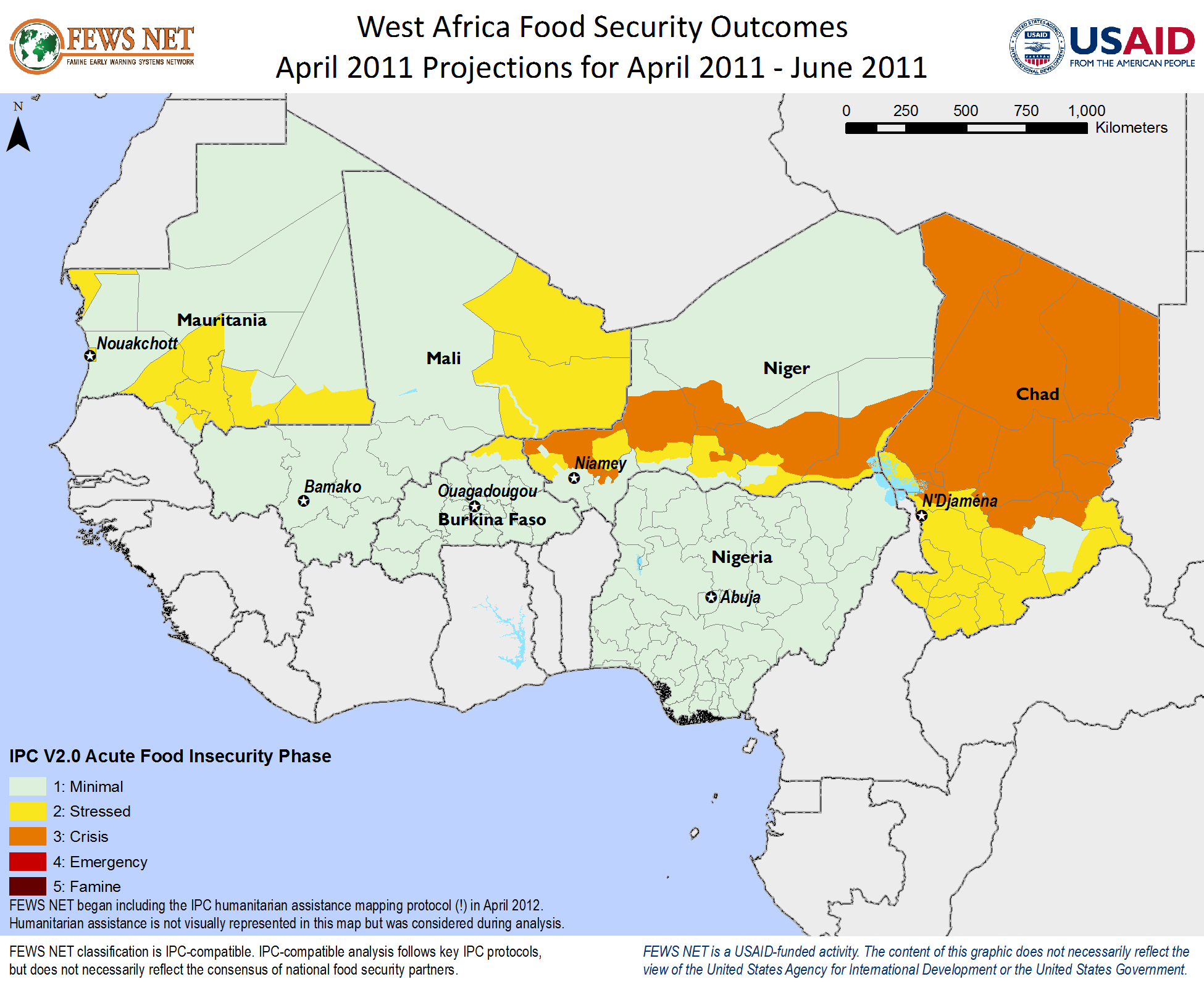 West Africa Food Security Classification April 2011 September The States Are As Follows Near Term Projection June